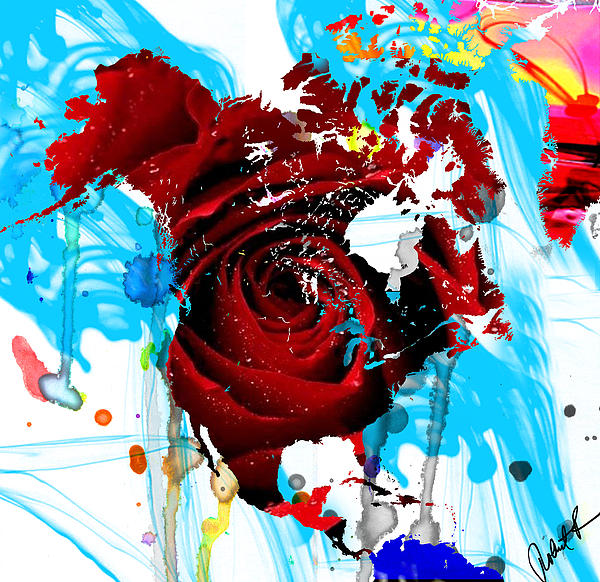 Beautiful World - Rose Red Signed Art Abstract Paintings Modern Www.splashyartist.com