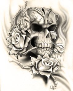 Skull rose tattoo design by NeoGzus.deviantart.com on @DeviantArt